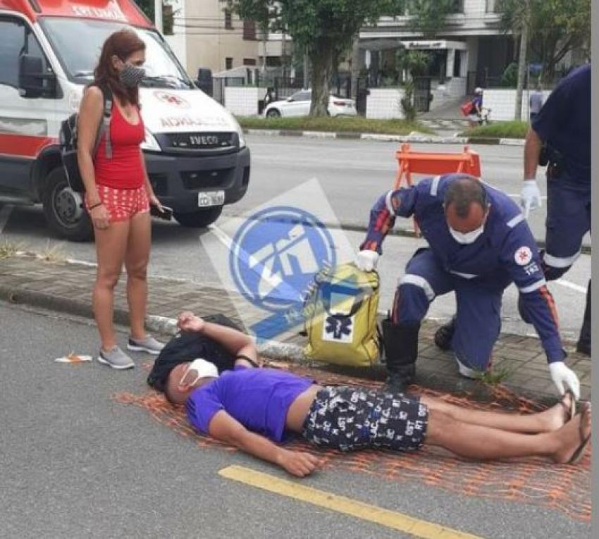 Acidente com Ciclista na Praia